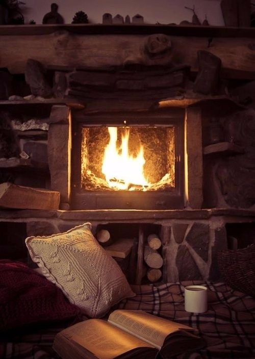 Fireplace adds warmth and a relaxing sound scape